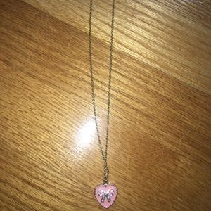 Forever 21 Jewelry - forever 21 pink heart bow necklace